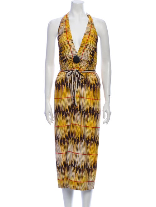 Rozae Nichols Printed Midi Length Dress Yellow