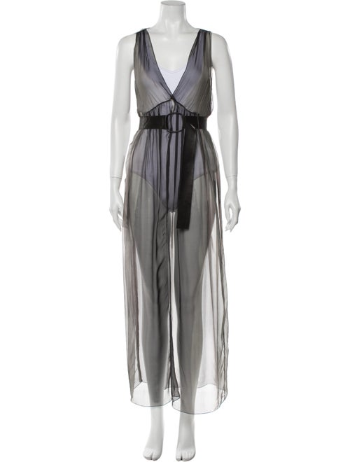 Rozae Nichols V-Neck Long Dress Grey