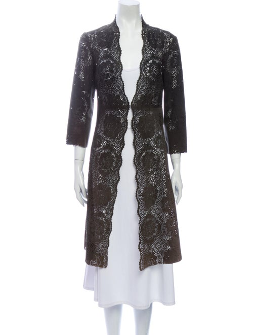 Rozae Nichols Leather Lace Pattern Coat Brown