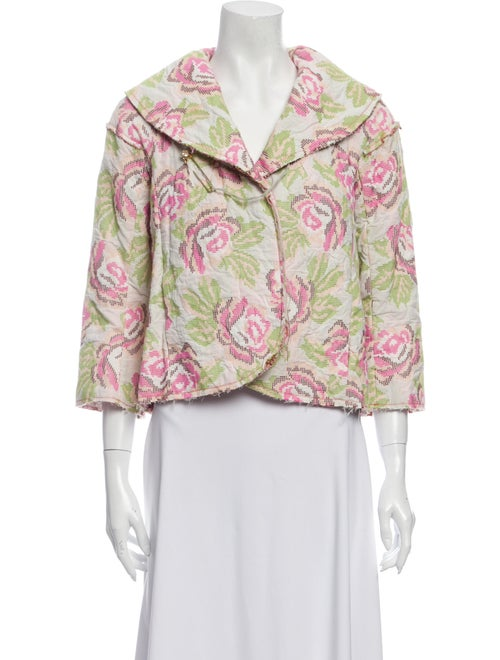 Rozae Nichols Floral Print Evening Jacket White