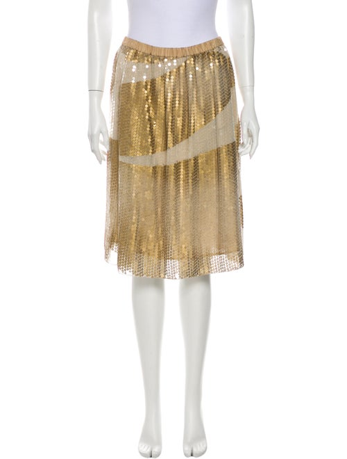 Rozae Nichols Silk Knee-Length Skirt Gold