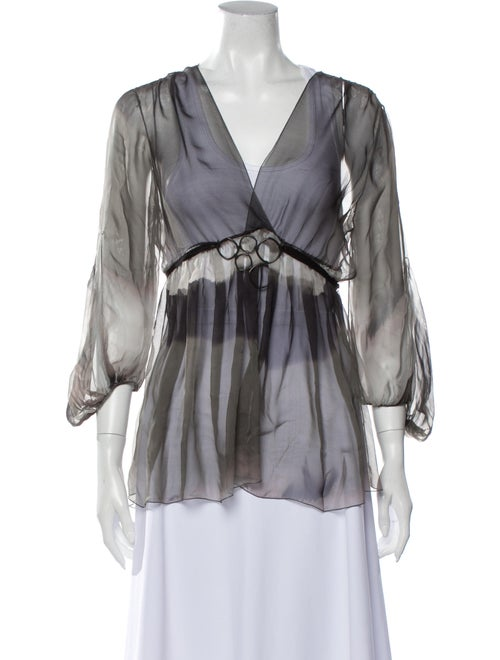 Rozae Nichols Silk V-Neck Blouse Grey