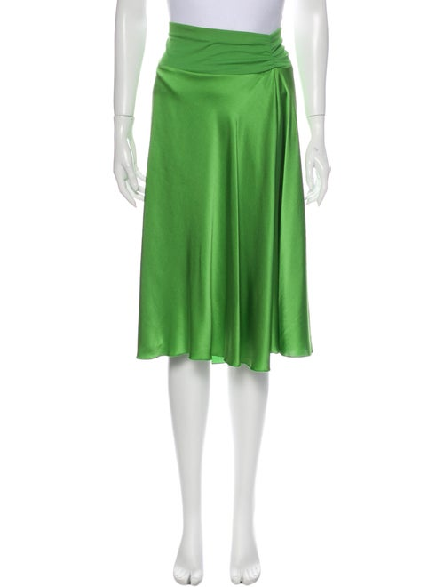Rozae Nichols Silk Knee-Length Skirt Green