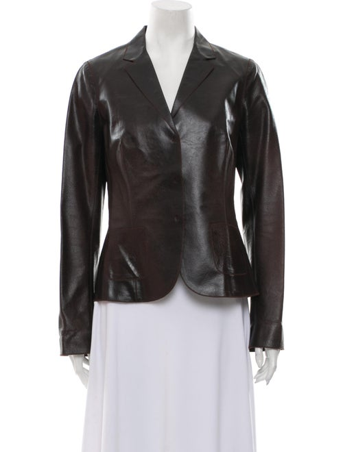 Rozae Nichols Leather Evening Jacket Brown