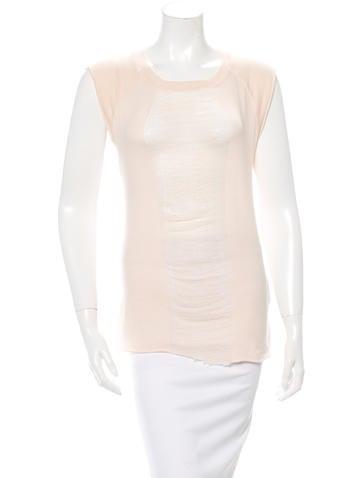 Raquel Allegra Distressed Cap Sleeve T-Shirt None
