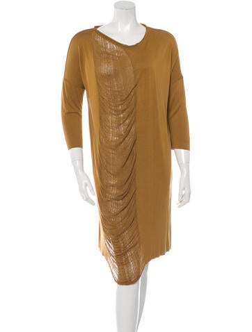 Raquel Allegra Shredded Three-Quarter Sleeve Dress w/ Tags None