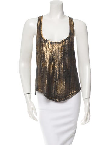 Raquel Allegra Metallic-Accented Sleeveless Top w/ Tags None