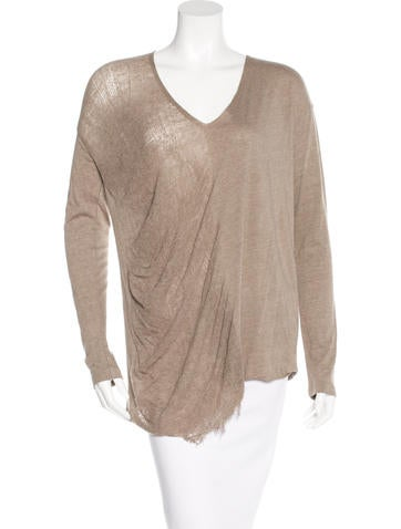Raquel Allegra Long Sleeve Distressed Top None