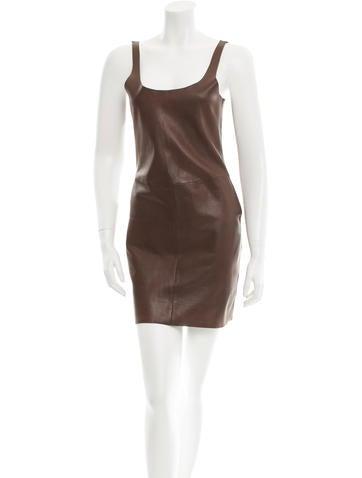 Raquel Allegra Sheath Leather Dress None
