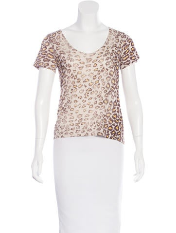 Raquel Allegra Leopard Print Short Sleeve Top w/ Tags None