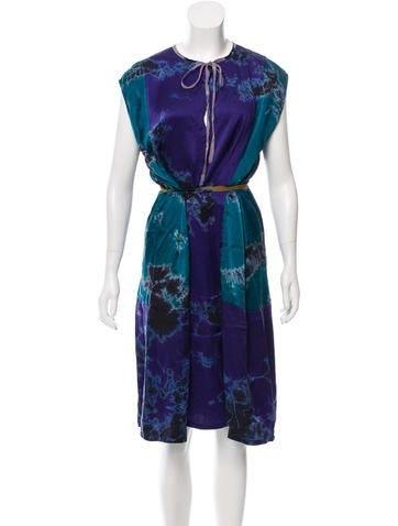 Raquel Allegra Printed Silk Dress w/ Tags None