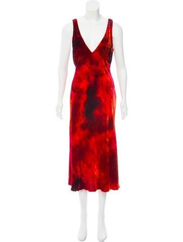 Raquel Allegra Tulip Velvet Midi Dress w/ Tags None