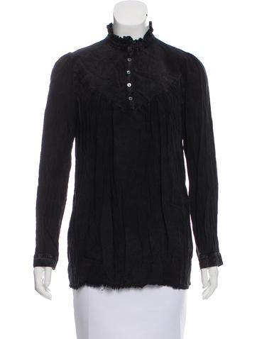 Raquel Allegra Ruffle-Trimmed Acid Wash Top w/ Tags None