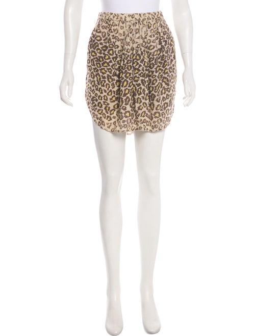 Raquel Allegra Leopard Print Mini Skirt Tan