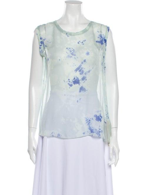 Raquel Allegra Silk Tie-Dye Print Top Green