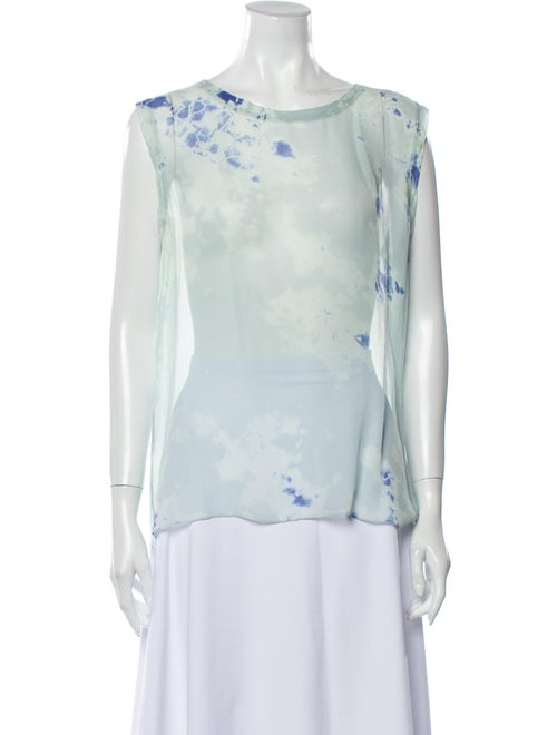 Raquel Allegra Silk Tie-Dye Print Blouse Green