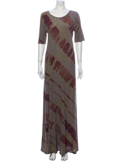 Raquel Allegra Tie-Dye Print Long Dress Grey
