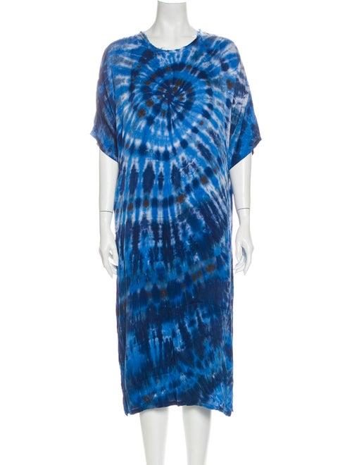 Raquel Allegra Tie-Dye Print Midi Length Dress Blu