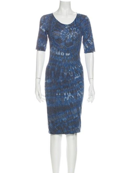 Raquel Allegra Tie-Dye Print Knee-Length Dress Blu