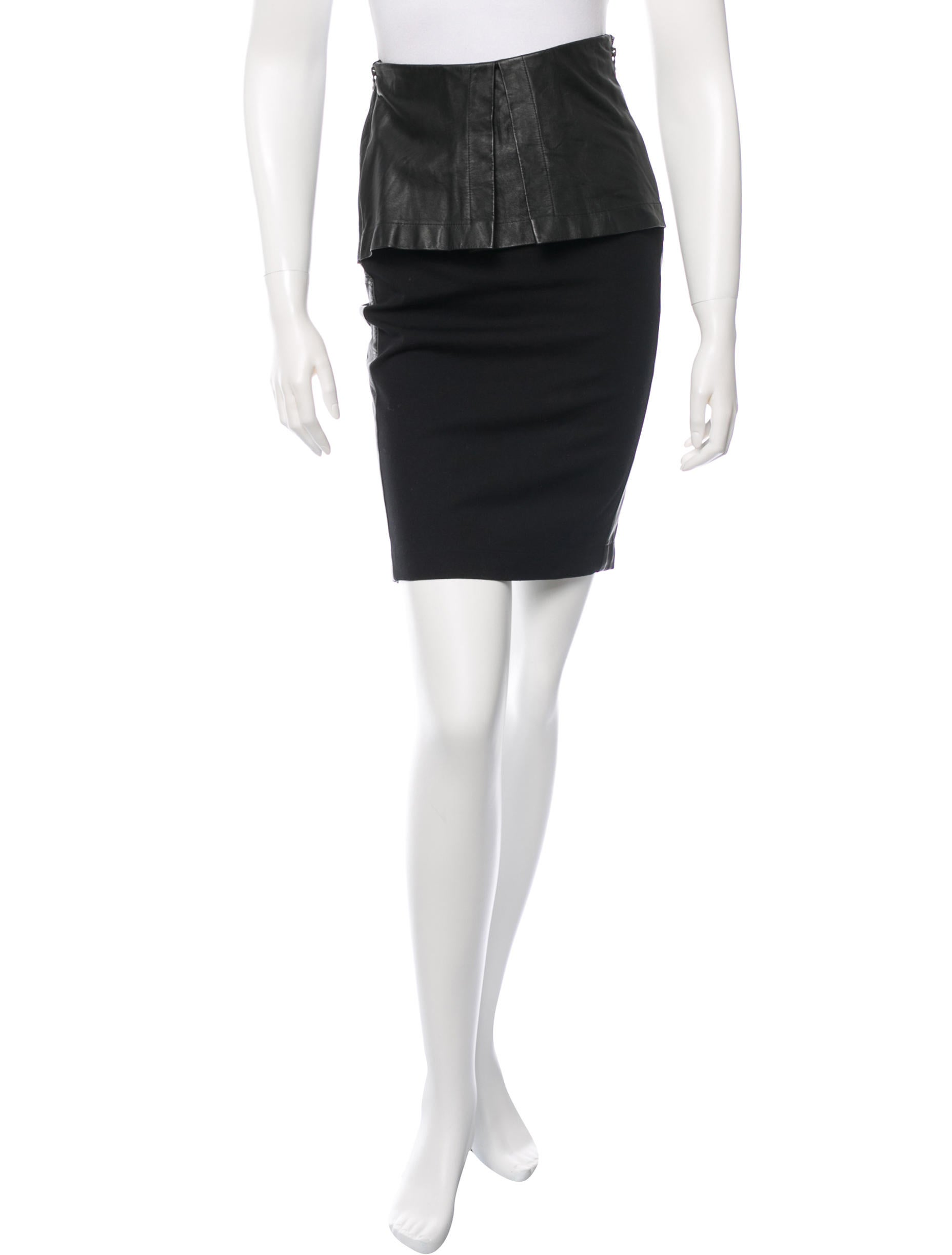 robert rodriguez leather trimmed skirt clothing