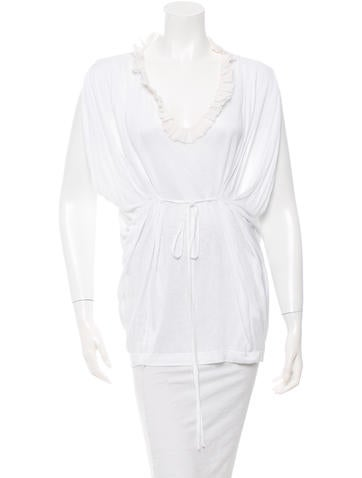 Robert Rodriguez Tie-Accented Pleated Top