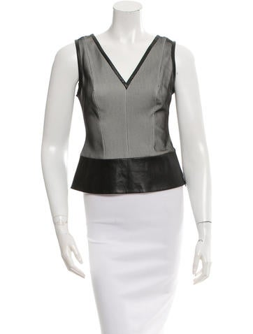 Robert Rodriguez Leather-Trimmed Sleeveless Top None