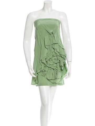 Robert Rodriguez Silk Ruffle-Trimmed Dress
