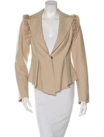 Robert Rodriguez Wool Ruffle-Trimmed Jacket None