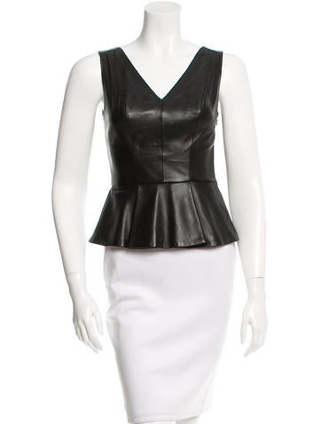 Robert Rodriguez Leather Flounced Top None