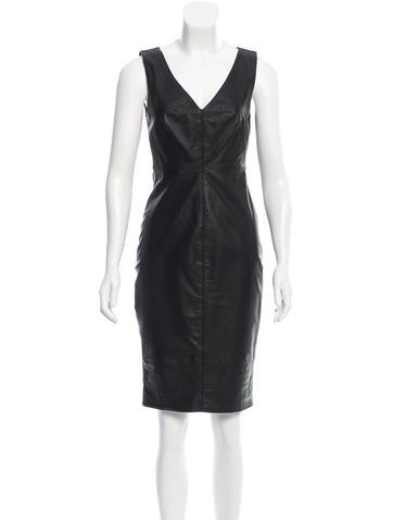 Robert Rodriguez Leather Sheath Dress None