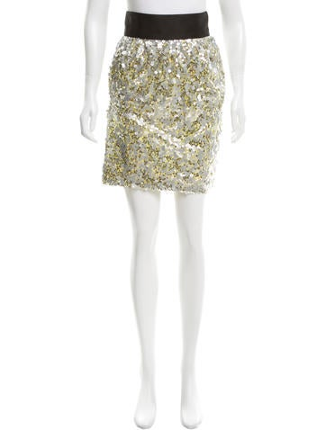Robert Rodriguez Sequin-Embellished Knee-Length Skirt None