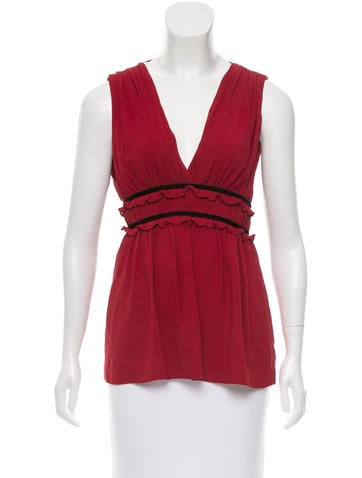 Robert Rodriguez Gathered Velvet-Trimmed Top None