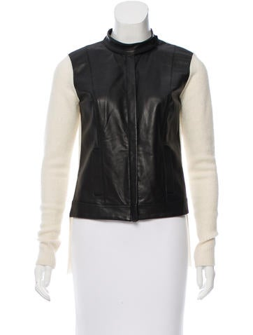 Robert Rodriguez Leather-Accented Wool Jacket None