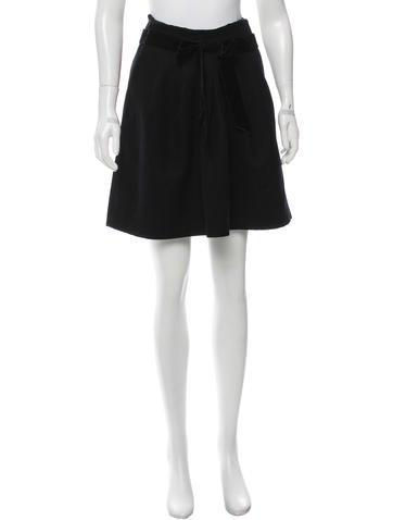 Robert Rodriguez Pleated Wool-Blend Skirt None