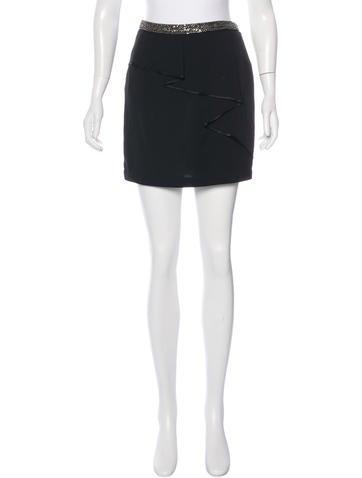 Robert Rodriguez Bead-Embellished Mini Skirt w/ Tags None