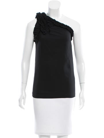Robert Rodriguez Ruffle-Trimmed One-Shoulder Top None