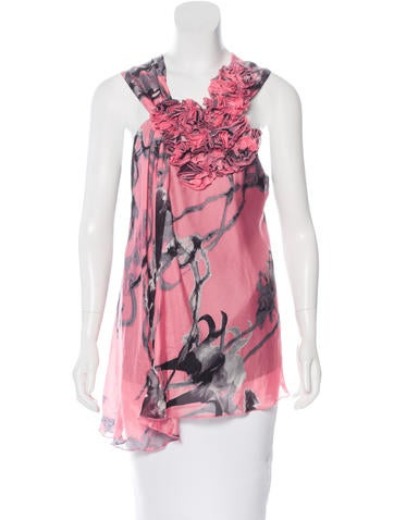 Robert Rodriguez Silk Floral Print Top w/ Tags