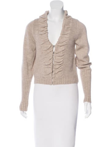 Robert Rodriguez Wool-Blend Ruched Cardigan None