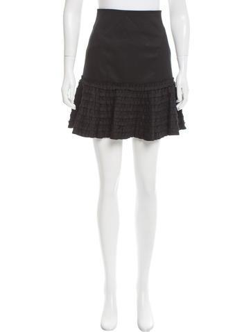 Robert Rodriguez Ruffle-Trimmed Flared Skirt None