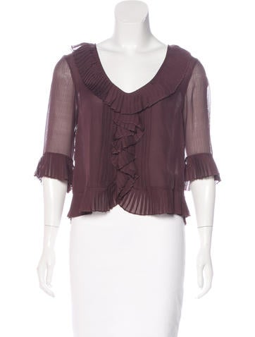 Robert Rodriguez Silk Pleated Top None