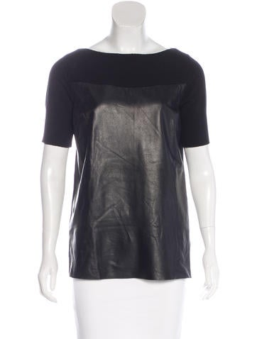 Robert Rodriguez Leather-Paneled Cashmere Top None