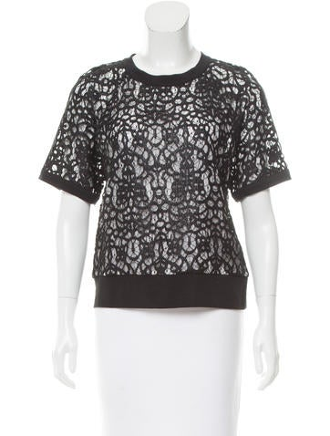 Robert Rodriguez Lace Short Sleeve Top None
