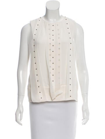 Robert Rodriguez Embellished-Accented Silk Top None