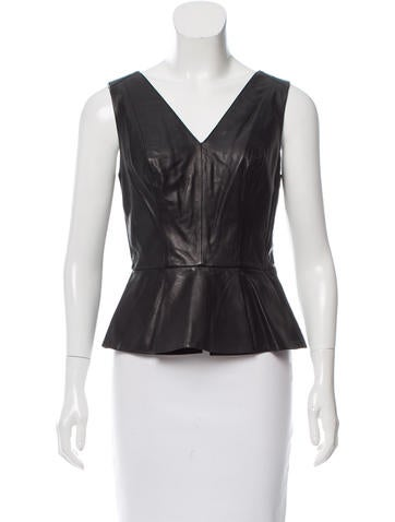 Robert Rodriguez Leather Peplum top None