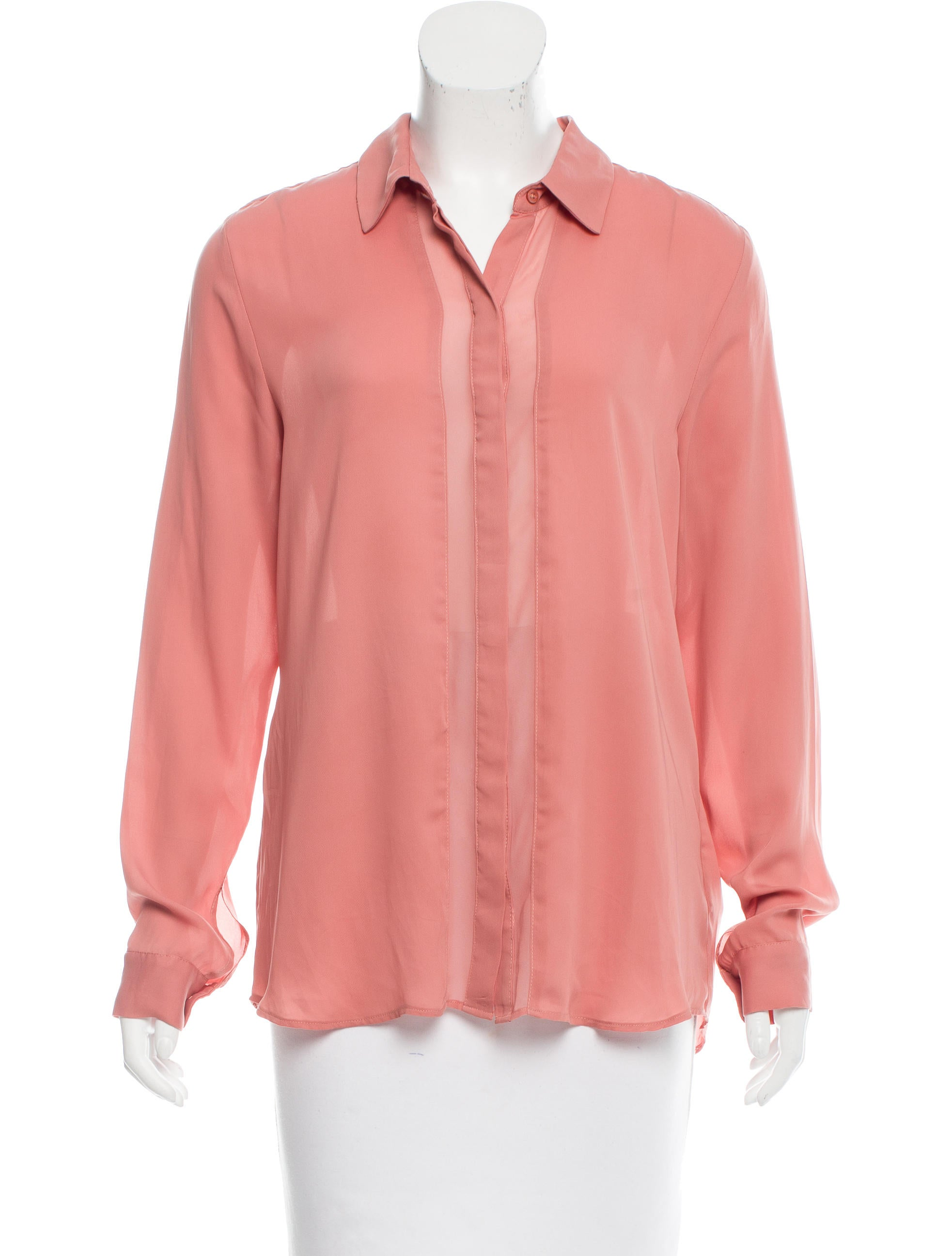 Robert Rodriguez Chiffon Paneled Button Up Blouse Clothing Wrr29692 The Realreal