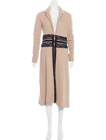 Robert Rodriguez Lace-Accented Wool Coat None