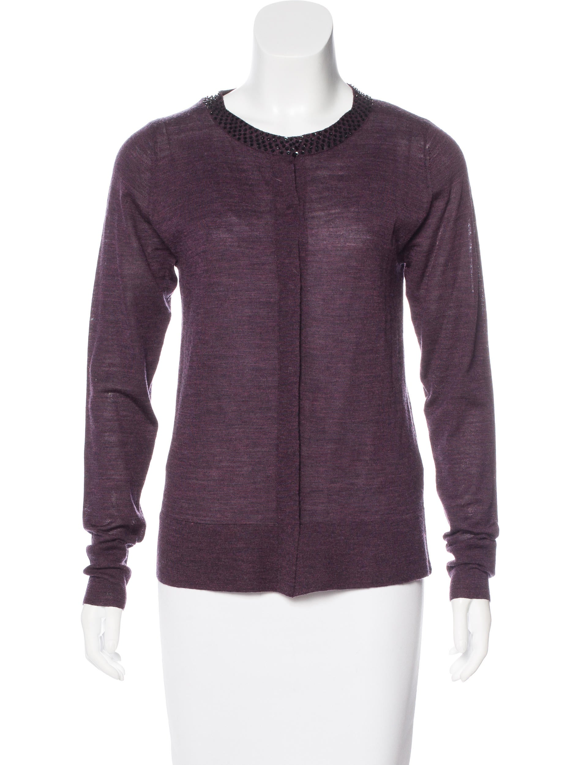Robert rodriguez merino wool embellished cardigan for Merino wool shirt womens