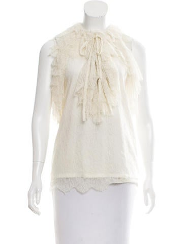 Robert Rodriguez Lace-Accented Sleeveless Top None
