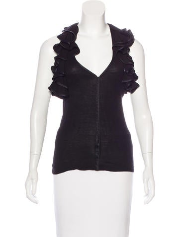 Robert Rodriguez Rib Knit Ruffled Top None