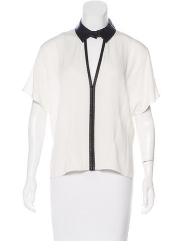 Robert Rodriguez Leather -Trimmed Silk Blouse None